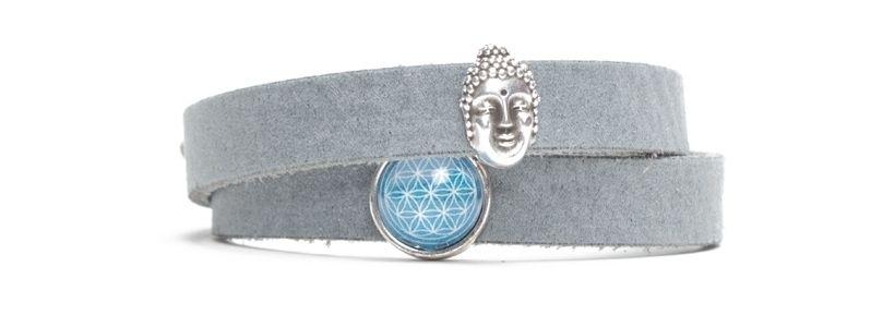 Craft Lederarmband für Slider Perlen Buddha Grau