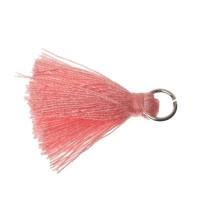 Quaste/Troddel, 25 - 30 mm, Baumwollgarn mit Öse (silberfarben), rosa