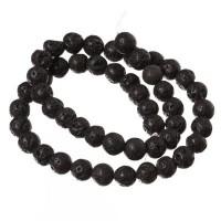 Strang Lavaperlen, rund, 8 mm, schwarz