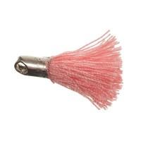 Quaste/Troddel, 18 mm, Baumwollgarn mit Endkappe (silberfarben), rosa