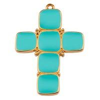 Metallanhänger Kreuz, 40 x 28 mm, türkis emailliert, vergoldet
