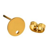 Edelstahl Ohrstecker, rund, goldfarben, 8x1mm, Öse 1,5mm, Stecker 0,8mm
