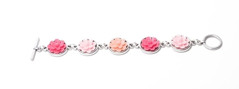 Armband mit  Blumencabochons Rosa