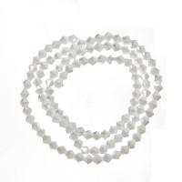 Strang Glasfacett  Bicone, 4 x 4 mm, white alabaster AB, Länge des Strangs ca. 40 cm