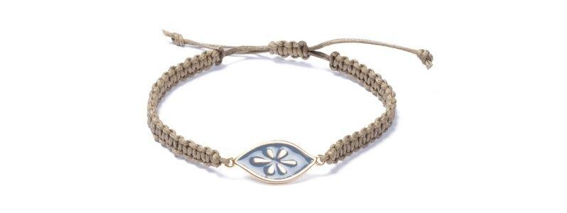 Armband mit Boho Emaille und Makramee Braun