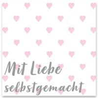 """Schmuckkarte """"Mit Liebe selbstgemacht"""", quadratisch, Größe 8,5 x 8,5 cm"""