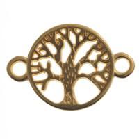 Armbandverbinder Baum, 22,5 x 15,5 mm, vergoldet