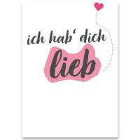 """Schmuckkarte, """"Ich hab' dich lieb"""", rechteckig, Größe 8,5 x 12 cm"""