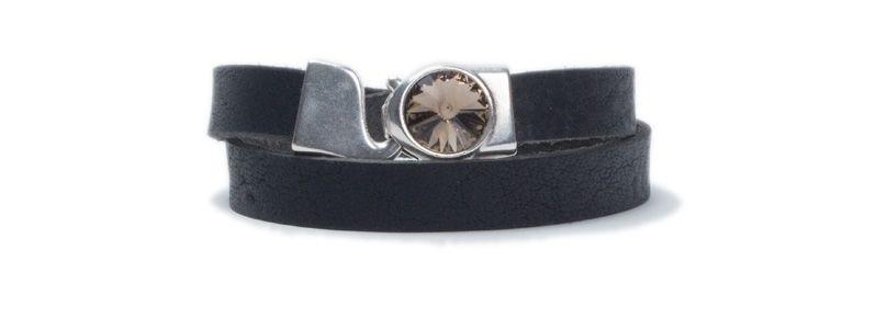 Breites Wickelarmband aus Büffelleder Rivoli Black Diamond