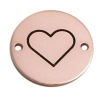 Coin Armbandverbinder Herz, 15 mm, rosevergoldet, Motiv lasergraviert