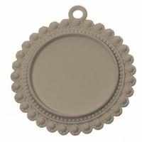 Anhänger/Fassung für Cabochons, rund 25 mm, weiß