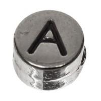 Metallperle, rund, Buchstabe A, Durchmesser 7 mm, versilbert