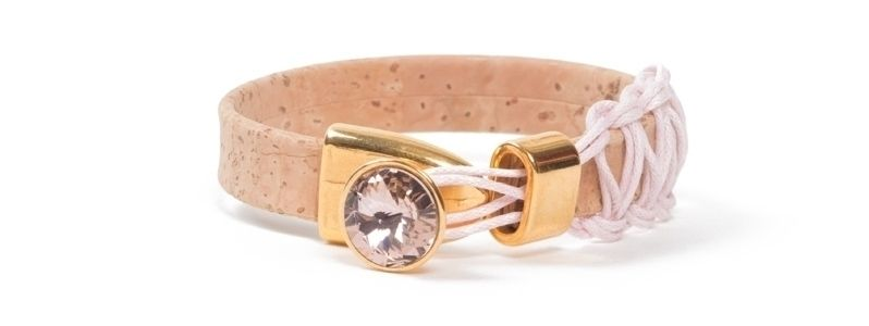 Armband breites Korkband Rivoli Rosa 1