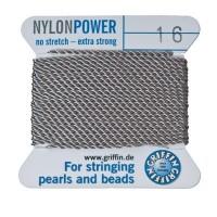 Perlseide, Nylon Power, 1,05 mm, grau, 2 m