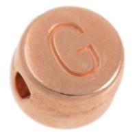 Metallperle, G Buchstabe, rund, Durchmesser 7 mm, rosevergoldet