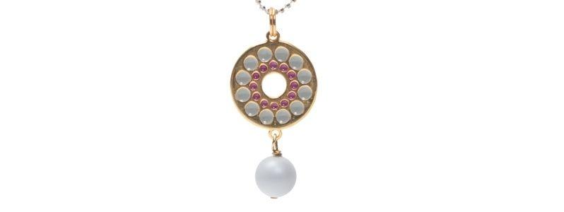 Anhänger mit Boho Emaille und Crystal Pearls Pale Grey