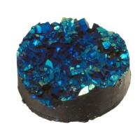 Cabochon aus Kunstharz, Druzy-Effekt , rund, Durchmesser 12 mm, dunkelblau