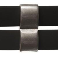 Metallperle Doppel-Slider Viereck, versilbert, ca. 9,5 x 24,5 mm