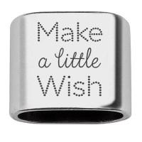 """Zwischenstück mit Gravur """"Make a little wish"""", 20 x 24 mm, versilbert, geeignet für 10 mm Segelseil"""