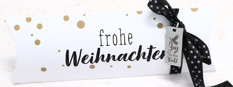 """Weihnachtsverpackung mit Geschenkanhänger """"Joy to the world"""""""