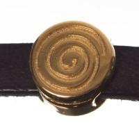 Metallperle Mini-Slider Schnecke, vergoldet, ca. 8 x 8 mm, Durchmesser Fädelöffnung:  5,2 x 2,0 m