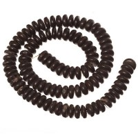 Kokosnussperlen, Scheibe, 10 x 3 mm, schwarz, Strang
