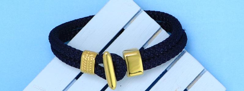 Maritimes Armband mit Tau und Hakenverschluss vergoldet
