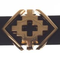 Metallperle Slider / Schiebeperle Raute Ethno, vergoldet, ca. 19 x 14 mm