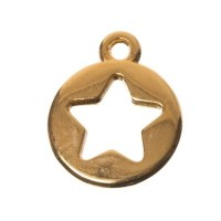 Metallanhänger Stern, 10 x 12 mm, vergoldet