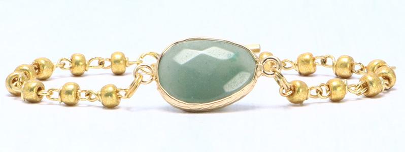 Armband mit Edelsteinarmbandverbinder und Rocailles grün