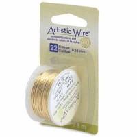 Beadalon Artistic Wire (Modellierdraht), 22 Gauge (0,64 mm), messingfarben, Rolle mit 8 yd (7,3 m)