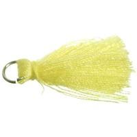 Quaste/Troddel, 25 - 30 mm, Baumwollgarn mit Öse (silberfarben), gelb