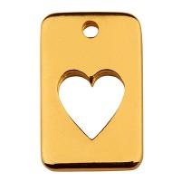 Metallanhänger Viereck mit Herz, 14,5 x 9,5 mm, vergoldet