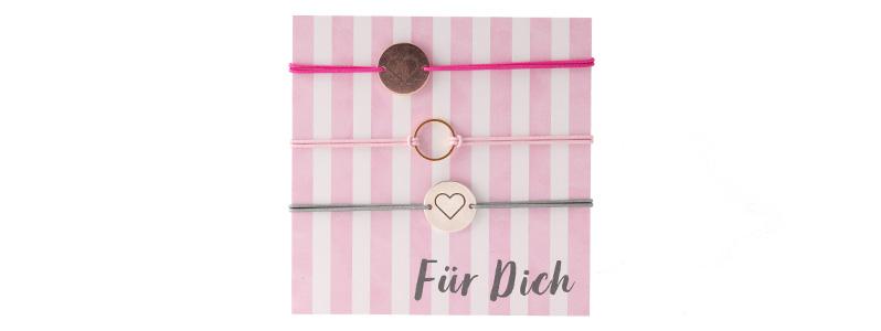"""Set Armbänder mit Coins """"Für dich"""""""