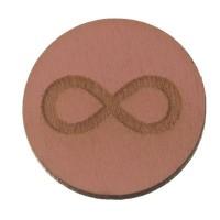 Holzcabochon, rund, Durchmesser 20 mm, Motiv Unendlichkeit, rosa