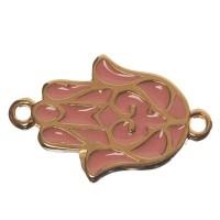 Armbandverbinder Hamsa, 21,5 x 13,5 mm, vergoldet, rosa emailliert