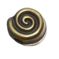 Metallperle Schnecke, ca. 11 x 6 mm, bronzefarben
