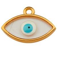 Metallanhänger Auge, 17,0 mm,  Vitraux, Glasfarbe: durchsichtig mit Auge, vergoldet