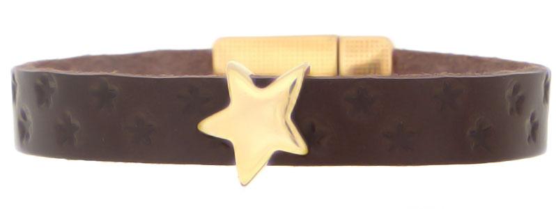 Selbst geprägtes Lederarmband Stern vergoldet