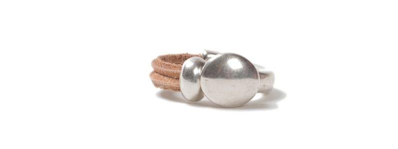 Metall Ring Knopf Natur