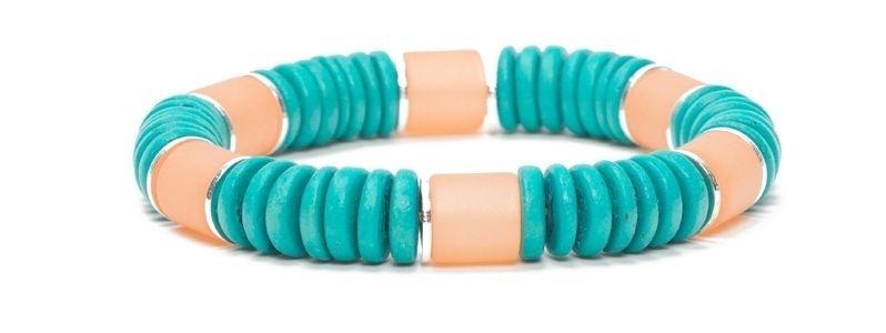 Armband mit Kokosnussperlen Sand-Türkis