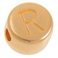 Metallperle, R Buchstabe, rund, Durchmesser 7 mm, vergoldet