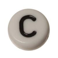 Kunststoffperle Buchstabe C, runde Scheibe, 7 x 3,7 mm, weiß mit schwarzer Schrift