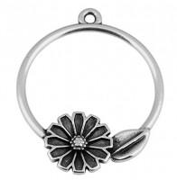 Metallanhänger Rund mit Blumen, 22 x 25 mm, versilbert