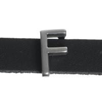 """Metallperle Slider / Schiebeperle Buchstabe """"F"""", versilbert, ca. 7,5 x 13,3  mm"""