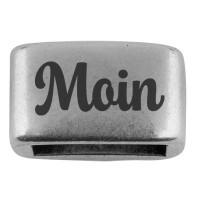 """Zwischenstück mit Gravur """"Moin"""", 14 x 8,5 mm, versilbert, geeignet für 5 mm Segelseil"""