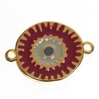 Metallanhänger / Armbandverbinder Boho, vergoldet, emailliert, ca. 21 x 15 mm
