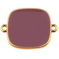 Armbandverbinder Viereck, 19 mm, mauve emailliert, vergoldet