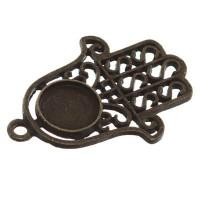 Anhänger/Fassung Hamsa für Cabochons, rund 10 mm, bronzefarben