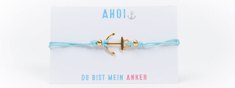 Anker-Baumwollarmband Blau-Gold